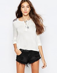 Pepe Jeans Embroidered Henley Top 805Oyster White