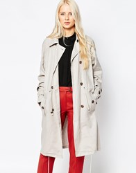 Selected Tie Waist Double Breasted Trench Coat Cream