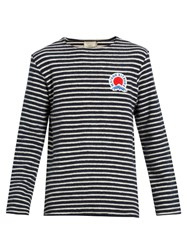 Maison Kitsune Mount Fuji Applique Striped Cotton Sweatshirt Navy Multi