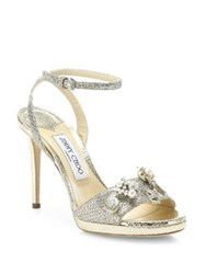 Jimmy Choo Electra 100 Crystal Button Glitter Ankle Strap Sandals Champagne