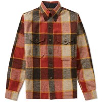 Beams Plus Check Knit Shirt Jacket Orange