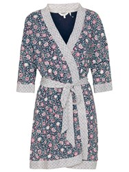 Fat Face Doune Printed Dressing Gown Navy