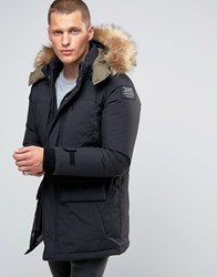 Schott Ottowa Down Hooded Parka With Faux Fur Trim Black