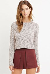 Forever 21 Contemporary Marled Knit Sweater Burgundy Cream