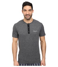 Kenneth Cole Reaction Lounge Short Sleeve Henley Dark Grey Heather Men's Pajama Gray