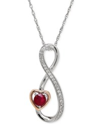 Macy's Ruby 1 5 Ct. T.W. And Diamond Accent Infinity Heart Pendant Necklace In Sterling Silver And 14K Rose Gold