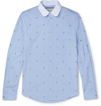 Gucci Slim Fit Penny Collar Embroidered Striped Cotton Shirt Blue