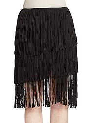 Lamarque Collection Suede Fringe Skirt Black
