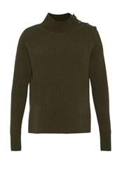 Hallhuber Jumper With Military Inspired Buttons Green