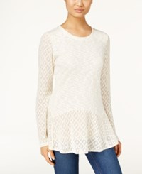 Styleandco. Style Co. Petite Crochet Detail Peplum Top Only At Macy's Warm Ivory