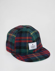 Asos Vintage Baseball Cap In Flannel Check Green