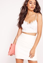 Missguided Lace Overlay Bralet White White