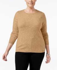 Charter Club Plus Size Cashmere Crewneck Sweater Only At Macy's Heather Camel