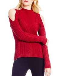 Jessica Simpson Knit Cold Shoulder Pullover Red