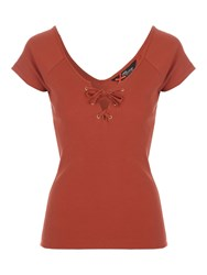 Jane Norman Lace Up V Neck Top Rust