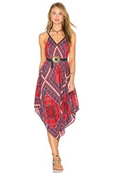 Band Of Gypsies Sleeveless V Neck Dress Red