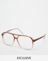 Reclaimed Vintage Clear Lens Glasses Brown