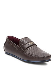 Zanzara Woven Leather Loafers Brown