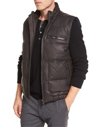Vince Leather Down Filled Vest Espresso Brown
