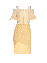 Peter Pilotto Selene Off The Shoulder Lace Panel Dress Light Yellow