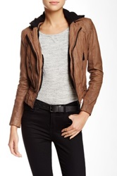 Doma Detachable Faux Fur Lined Genuine Leather Jacket Beige