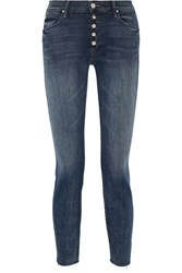 Mother The Fly Cut Stunner Distressed Mid Rise Skinny Jeans Dark Denim