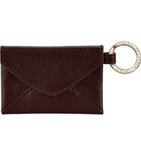 Aspinal Of London Envelope Pouch Textured Leather Keyring Brown