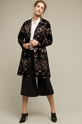 Anthropologie Laced Velvet Coat Black