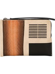 Rick Owens Zipped Clutch Brown