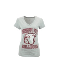 Soffe Women's Mississippi State Bulldogs V Neck T Shirt Gray