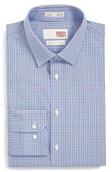 1901 Trim Fit Plaid Dress Shirt Blue Bell