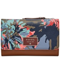 Fossil Dawson Leather Wallet Blue Floral