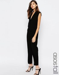 Asos Tall Sleeveless Tuxedo Wrap Jumpsuit Black