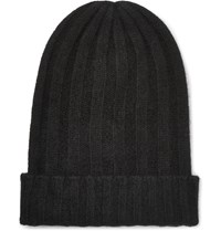 The Elder Statesman Bunny Echo Ribbed Cashmere Beanie Black