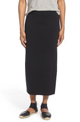 Women's Eileen Fisher Silk And Cotton Interlock Knit Pencil Skirt Black