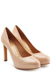 Salvatore Ferragamo Patent Leather Platform Pumps Rose
