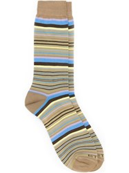 Etro Striped Mid Calf Socks Nude And Neutrals