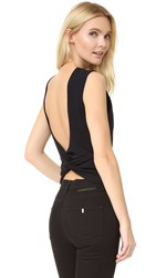 Alexander Wang Open Back Twist Tank Black