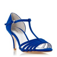 Linea Mayviss T Bar Strappy Mid Heel Sandals Blue