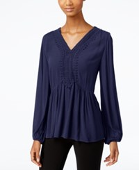 Jpr Crochet Front Peplum Blouse Evening Blue