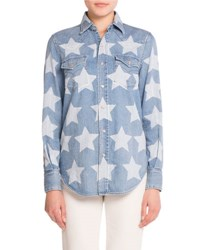 Saint Laurent Star Print Western Denim Shirt Blue White Blue White