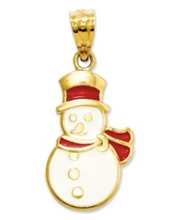 Macy's 14K Gold Charm Red And White Snowman Charm