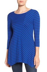Chaus Women's Handkerchief Hem Stripe Top Wild Blue