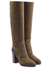 Sergio Rossi Suede Knee Boots Green