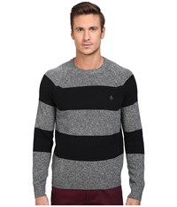Original Penguin Wide Stripe Crew Neck Sweater Dark Shadow Men's Sweater Black
