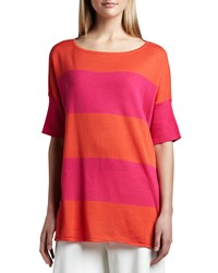 Joan Vass Striped Boxy Sweater Petite Hot Pink Spcy Orn