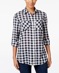 Styleandco. Style Co. Gingham Roll Tab Shirt Only At Macy's Gingham Blue