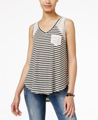 American Rag Striped Lace High Low Tank Top Only At Macy's Black