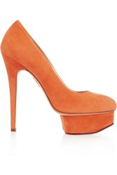 Charlotte Olympia Hot Dolly Suede Pumps Orange