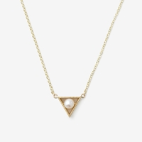 Grace Lee Triangle Pearl Necklace Yellow Gold